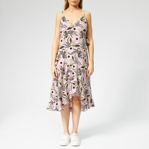 KENZO Women's Long Slip Dress with Ruffles - Pastel Pink