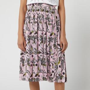 KENZO Women's Pleated Asymmetric Midi Skirt - Pastel Pink