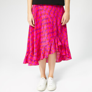 KENZO Women's Asymmetric Ruffled Midi Skirt - Deep Pink