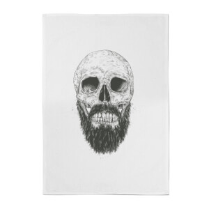 Balazs Solti Bearded Skull Cotton Tea Towel