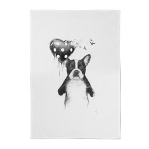 Balazs Solti Bulldog and Balloon Cotton Tea Towel