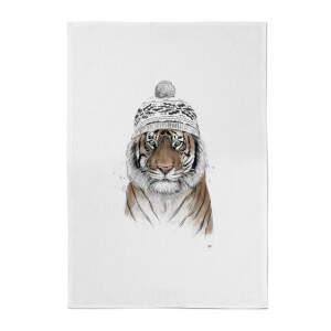 Balazs Solti Winter Tiger Cotton Tea Towel
