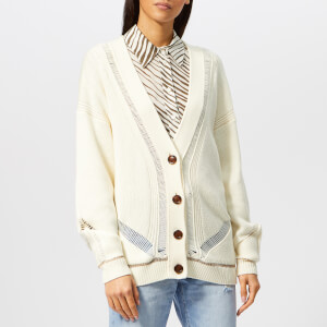 See By Chloé Women's Ladder Stitch Knit Cardigan - Crystal White