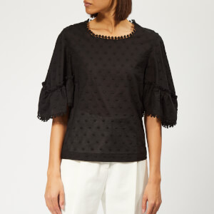 See By Chloé Women's Voile Dotted Blouse - Black