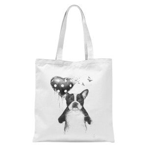 Balazs Solti Bulldog and Balloon Tote Bag - White
