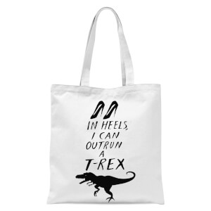 Rock On Ruby In Heels I Can Outrun A T-Rex Tote Bag - White