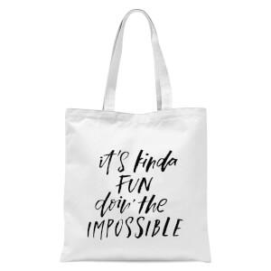 PlanetA444 It's Kinda Fun Doin' The Impossible Tote Bag - White