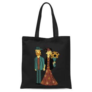 Tobias Fonseca Love Is Art - Frida Kahlo and Van Gogh Tote Bag - Black