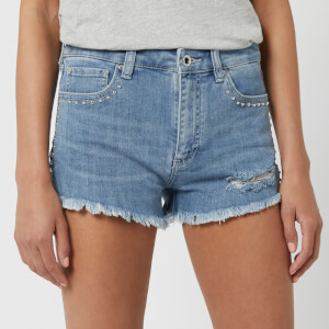 Armani Exchange Women's Distressed Studded Shorts - Blue