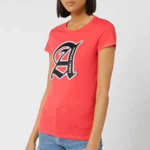 Armani Exchange Women's Square Logo T-Shirt - Pink