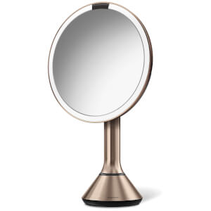simplehuman Rechargeable Trio Sensor Mirror with Touch Control Brightness - Rose Gold 20cm