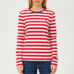 Polo Ralph Lauren Women's PP Long Sleeve Stripe Crew Neck T-Shirt - Red/White