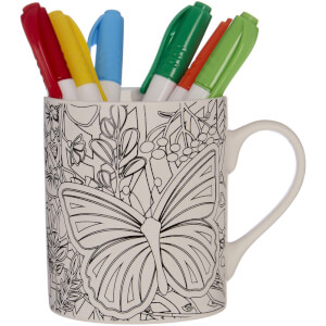 Colour In Mug with Six Pens - Butterflies