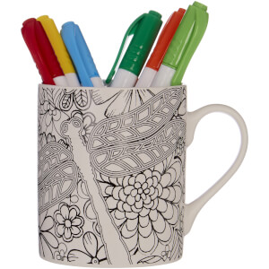 Colour In Mug with Six Pens - Dragonfly