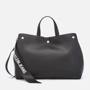Calvin Klein Women's Logo Banner East West Bottom Tote Bag - Black
