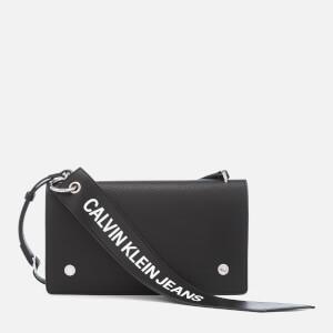 Calvin Klein Women's Logo Banner Cross Body Flap Bag - Black