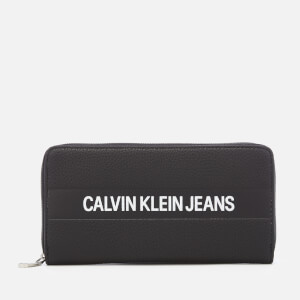 Calvin Klein Women's Logo Banner Large Zip Around Wallet - Black