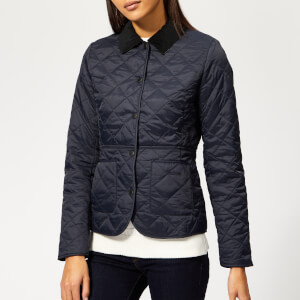 Barbour Women's Deveron Quilted Coat - Navy/Pale Blue