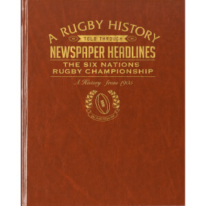 Six Nations Rugby Newspaper Book - Brown Leatherette