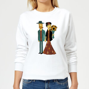 Tobias Fonseca Love Is Art - Frida Kahlo and Van Gogh Women's Sweatshirt - White