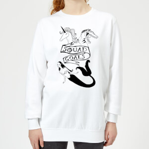 Rock On Ruby Mermaid, Unicorn and Dinosaur Squad Goals Women's Sweatshirt - White