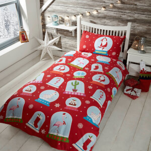 Snow Globe Duvet Cover Set - Red