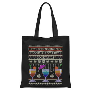 Its Beginning To Look A Lot Like Cocktails Tote Bag - Black