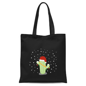 Cactus Santa Hat Tote Bag - Black