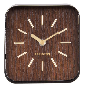 Karlsson Table Clock Squared - Black Steel/Dark Wood Dial