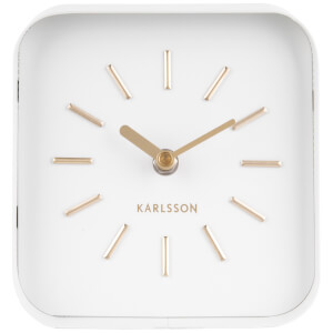 Karlsson Table Clock Squared - White Steel