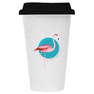 Flamingo Ceramic Travel Mug