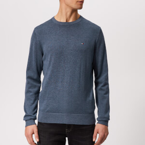 Tommy Hilfiger Men's Cotton Silk Crew Neck Sweater - Blue