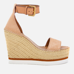 See By Chloé Women's Glyn Suede Espadrille Wedge Sandals - Cipria