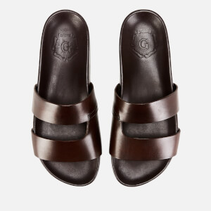 Grenson Men's Chadwick Hand Painted Leather Slide Sandals - Brown