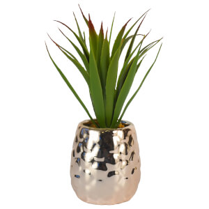 Pineapple Pot with Artificial Aloe Vera – Rose Gold