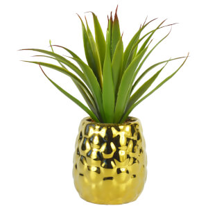Pineapple Pot with Artificial Aloe Vera – Gold