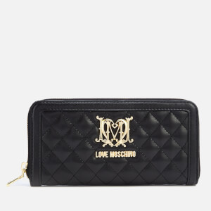 193cbaffb5b6 Love Moschino Women s Large Zip Around Quilted Wallet - Black