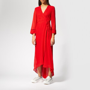 Ganni Women's Mullin Georgette Wrap Dress - Fiery Red