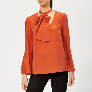 MICHAEL MICHAEL KORS Women's Bell Sleeve Silk Top - Bright Terra Cotta