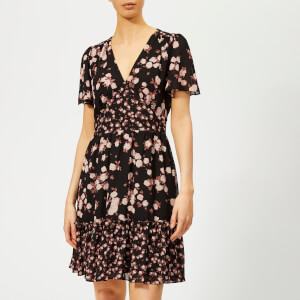 MICHAEL MICHAEL KORS Women's Rose Print Mix Dress - Black/Dusty Rose