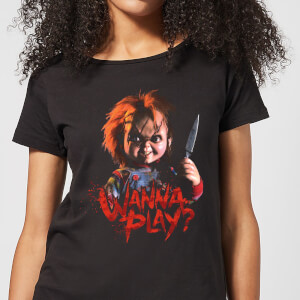 Camiseta Chucky Wanna Play? - Mujer - Negro