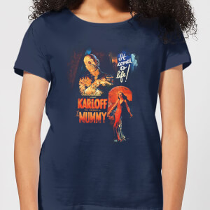Universal Monsters The Mummy Vintage Poster Women's T-Shirt - Navy