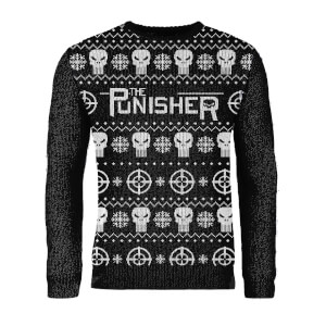 Zavvi Exclusive Punisher Knitted Christmas Jumper - Black