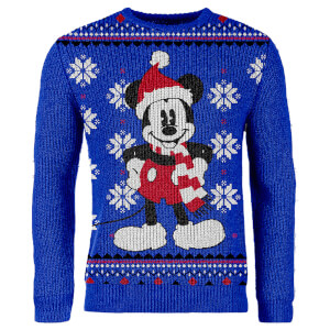 Mickey Mouse Knitted Christmas Sweater - Blue
