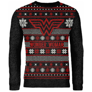Zavvi Exclusive Wonder Woman Knitted Christmas Sweater - Black