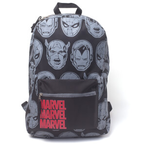 Marvel Characters All Over Printed Backpack - Black