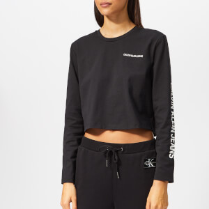Calvin Klein Jeans Women's Long Sleeve Cropped T-Shirt - Black