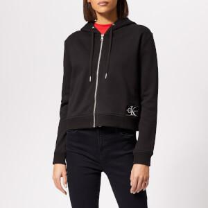 Calvin Klein Jeans Women's Boxy Zip Up Monogram Badge Hoody - Black