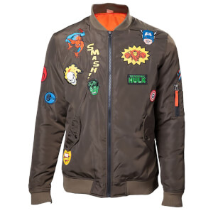 Marvel Men's Patches Bomber Jacket - Khaki