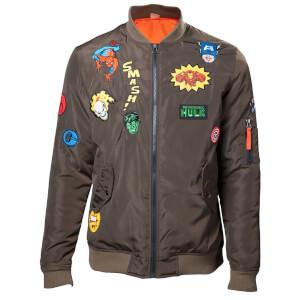 Marvel Men's Patches Bomber Jacket - Khaki
